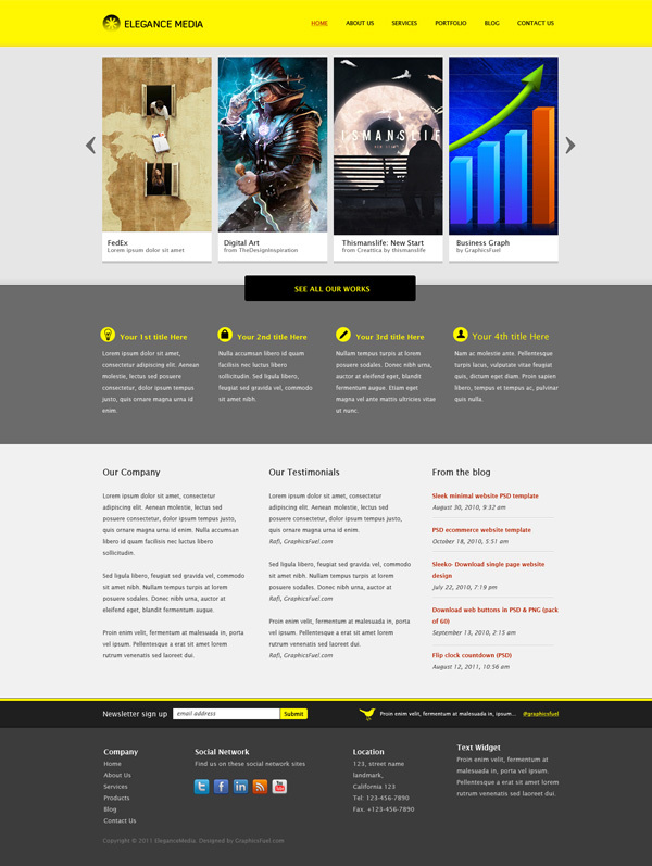 清洁企业网站模板<br /> http://www.graphicsfuel.com/2011/08/business-website-template-psd/