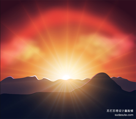 矢量日落<br /> http://vector.tutsplus.com/tutorials/how-to-illustrate-a-luminous-vector-sunset/