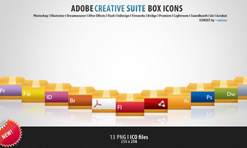Adobe Box Icons<br /> http://carizzo.deviantart.com/art/Adobe-Box-Icons-175715900