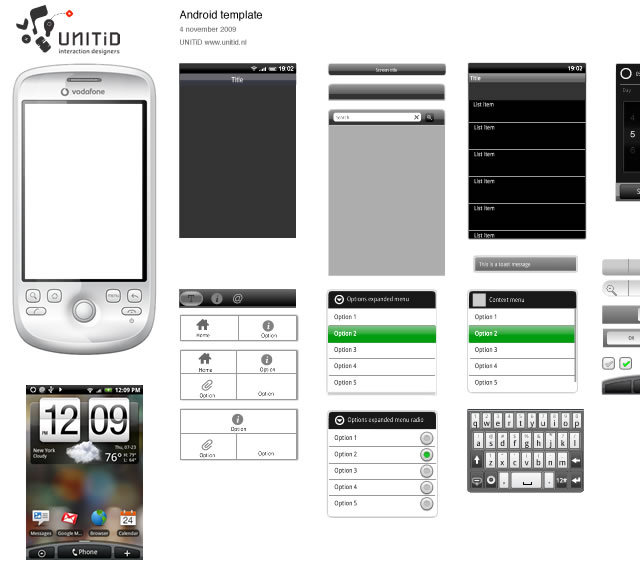 Adobe Fireworks Template for Android 1.5 (PNG)<br /> http://unitid.nl/2009/11/fireworks-template-for-android/