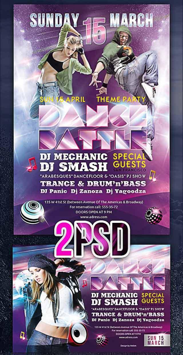 Dance Battle<br /><br /> http://www.behance.net/gallery/Dance-Battle-Party-Flyer-PSD-Template/3557987