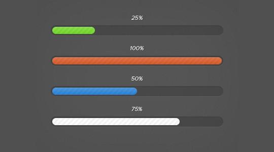 糖果色进度条PSD源文件<br /> http://designmoo.com/4215/pretty-progress-bars/