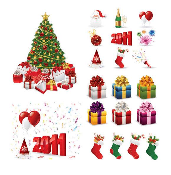 矢量圣诞节设计元素<br /> http://www.zezu.org/vector-christmas-2011-design-elements/