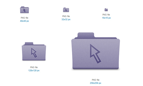 Purple Cursor Folder Icon<br /> http://www.softicons.com/free-icons/folder-icons/latt-for-os-x-icons-by-rick-patrick/purple-cursor-folder-icon