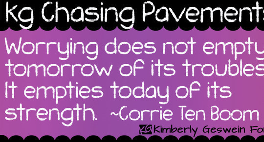 KG Chasing Pavements font<br /> http://www.fontspace.com/kimberly-geswein/kg-chasing-pavements