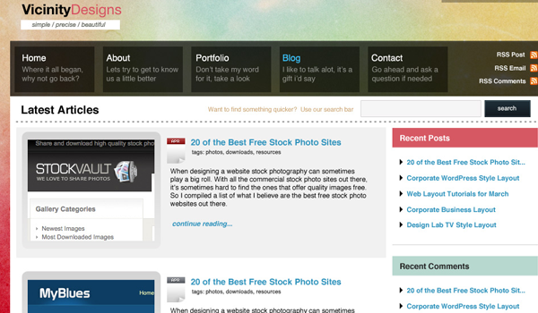 水彩设计工作室的博客布局 http://psdvibe.com/2009/04/12/watercolored-design-studio-blog-layout/