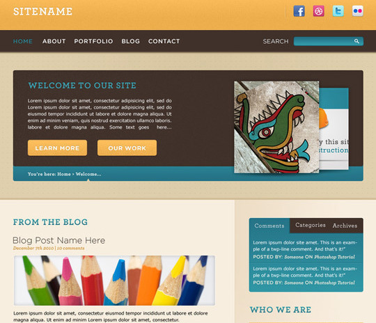 Convert a Warm, Cheerful Web Design to HTML and CSS<br /> http://net.tutsplus.com/tutorials/site-builds/convert-a-warm-cheerful-web-design-to-html-and-css/