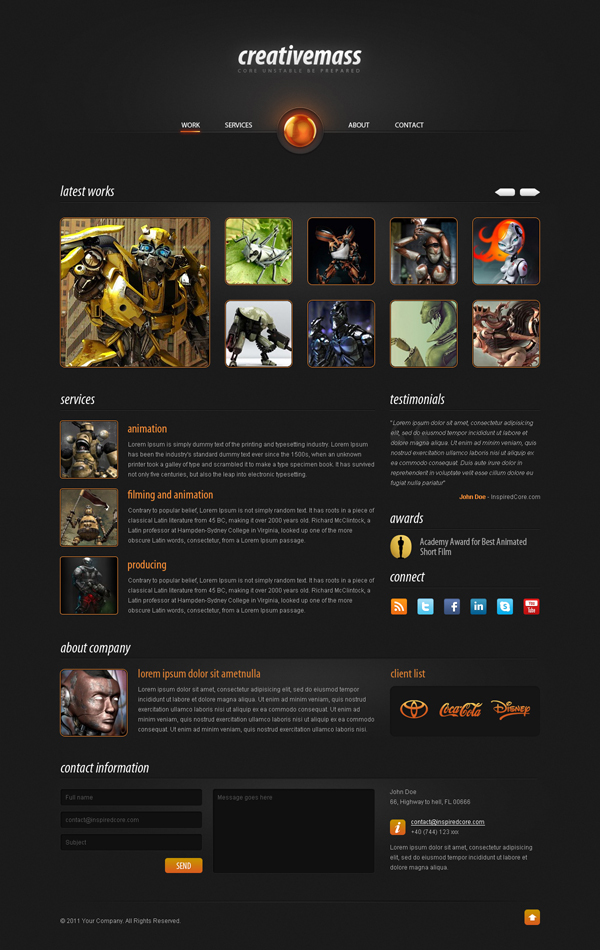 """CREATIVE MASS"" A STUNNING ONE-PAGED WEBSITE TEMPLATE (PSD)<br /> http://inspiredcore.com/freebie-creative-mass-a-stunning-one-paged-website-template-psd"