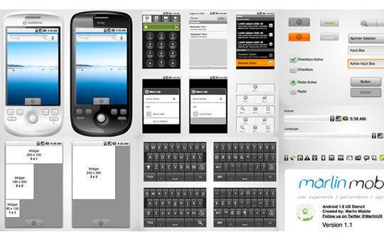 Android 1.6 Wireframe Stencil for Omnigraffle<br /> http://graffletopia.com/stencils/630