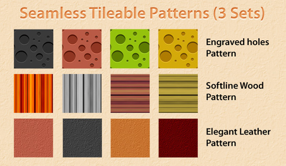 Seamless Tileable Patterns<br /> http://www.graphicsfuel.com/2010/08/seamless-tileable-patterns-engraved-holes-wood-and-leather-in-3-sets/