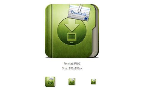 粗绿色下载文件夹图标<br /> http://iconbug.com/detail/icon/1569/coarse-green-download-folder/