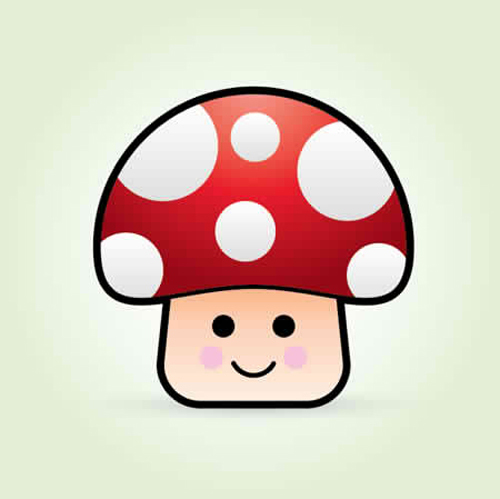 如何创建一个可爱的矢量蘑菇<br /> http://blog.spoongraphics.co.uk/tutorials/how-to-create-a-cute-vector-mushroom-character