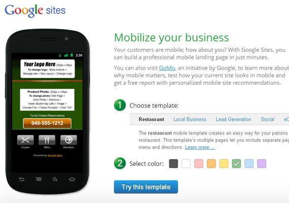 Google Sites<br /> http://www.google.com/sites/help/mobile-landing-pages/mlpb.html<br /> 谷歌网站,你可以在短短几分钟内建立一个专业的移动登陆页面。