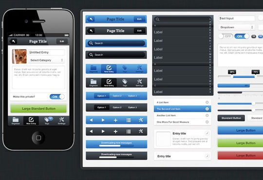 Fresh iPhone UI Kit<br /> http://medialoot.com/item/fresh-iphone-ui-kit/