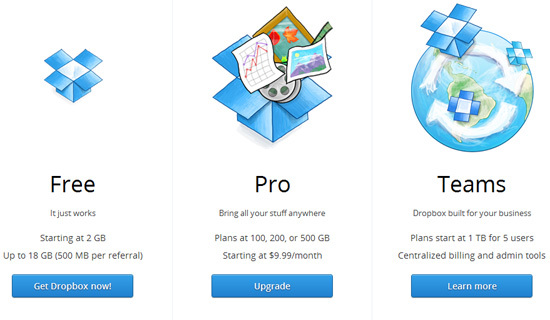 Dropbox<br /> https://www.dropbox.com/pricing