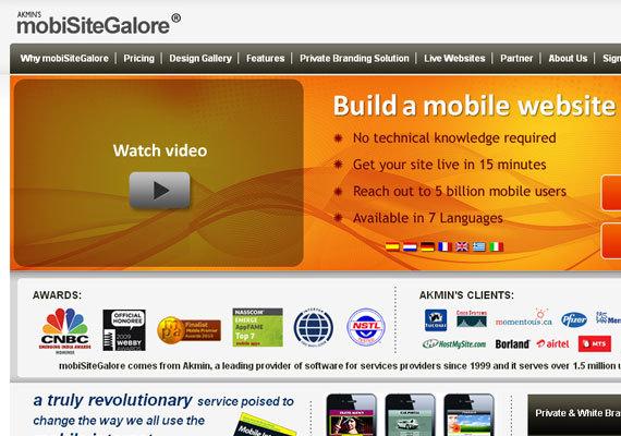 mobiSiteGalore<br /> http://www.mobisitegalore.com/<br /> mobiSiteGalore是一个移动的网站生成器,用户可以轻松地创建,发布和共享移动网站。无需任何技术基础,无需安装与下载。
