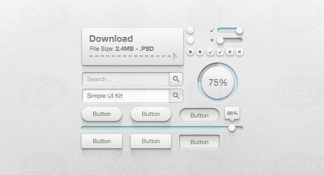Simple UI Kit<br /> http://www.icondeposit.com/design:43