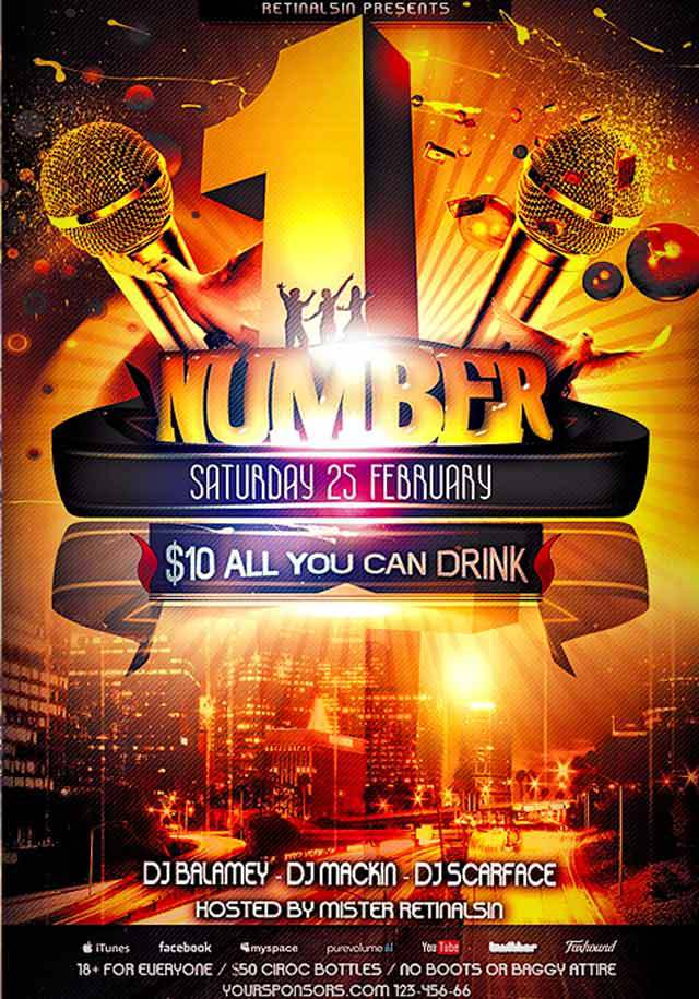 Number-One Party Flyer Template<br /><br /> http://www.flickr.com/photos/serhatozalp/6819185525/