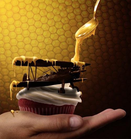 如何绘制蜂蜜,如何让飞机变成巧克力 http://www.pxleyes.com/tutorial/photoshop/2941/How-to-Create-Honey-and-Turn-Everything-into-Chocolate.html