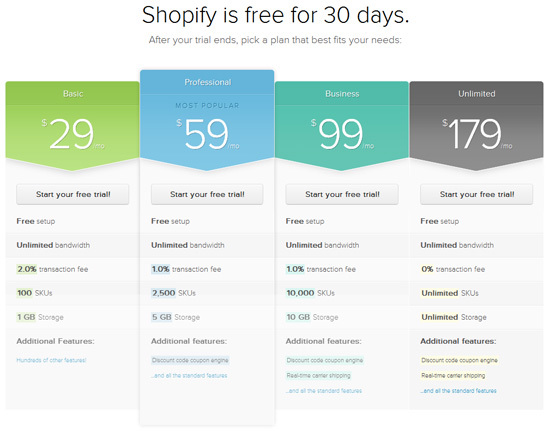 Shopify<br /> http://www.shopify.com/pricing