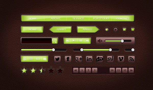 Leather UI<br /> http://365psd.com/day/03-65/