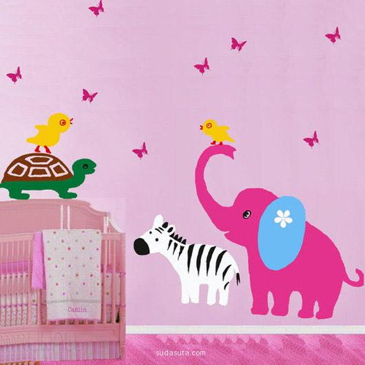 Baby Zebra and Mother Play with Butterfly Wall Sti