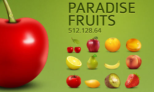 天堂水果图标集<br /> 包括12个图标<br /> http://artbees.net/paradise-fruits-icon-set/