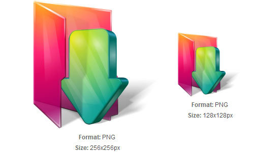 橙色和绿色下载文件夹图标<br /> http://iconbug.com/detail/icon/1582/orange-and-green-download-folder/