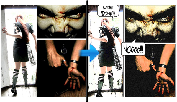在Photoshop中创建一个平面漫画<br /><br /> http://ps-helper.com/creating-a-graphic-novel-with-photos/
