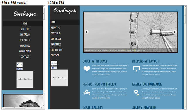OnePager<br /> http://www.egrappler.com/free-responsive-html5-single-page-portfoliowebsite-template-onepager/