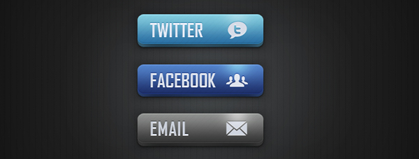 Social Media and Email Buttons<br /> http://365psd.com/day/240/