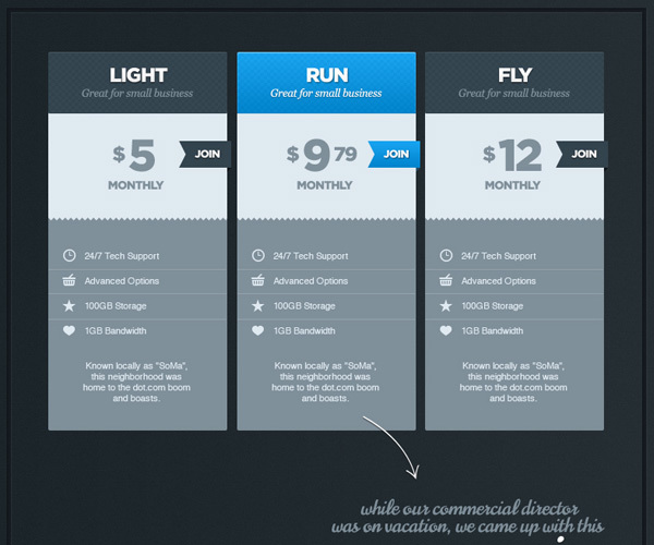 帅气的价格表PSD<br /> http://dribbble.com/shots/562727-Handsome-Price-Table-PSD-Freebie/attachments/42360