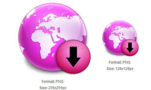 紫地球下载图标<br /> http://iconbug.com/detail/icon/1942/purple-globe-download/