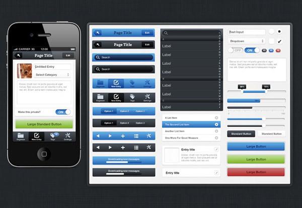 iPhone UI Kit<br /> http://medialoot.com/item/fresh-iphone-ui-kit/