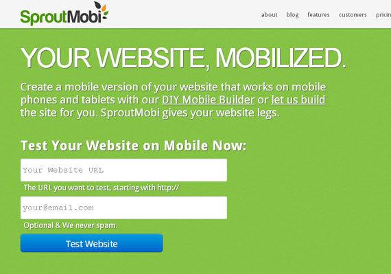 SproutMobi<br /> http://www.sproutmobi.com/<br /> 可以自主拖拽创建移动网站,或让我们的工作人员为您的网站创建一个移动版本的网站。