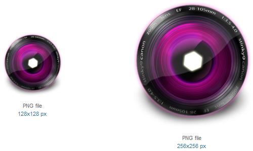 镜头粉红色的图标<br /> http://www.softicons.com/free-icons/object-icons/lens-icons-by-stinky9/lens-pink-icon