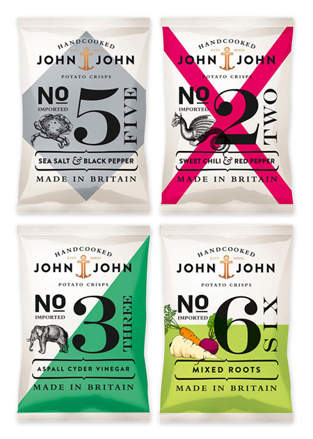 John John Crisps Packaging by Peter Schmidt Group<br /> http://www.designworklife.com/2011/11/22/john-john-crisps-packaging/