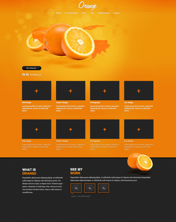 橙光:一个免费的PSD网站模板<br /> http://www.blazrobar.com/2012/free-psd-website-templates/orange-a-free-psd-website-template/