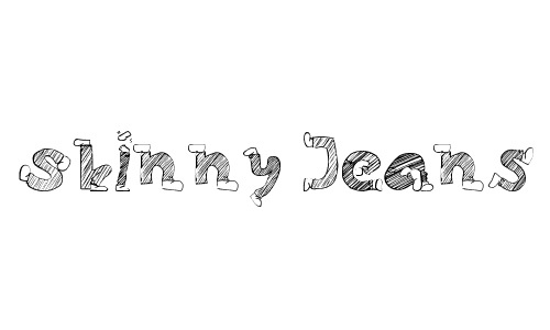 Skinny Jeans Doodles<br /> By Agam<br /> http://www.dafont.com/skinny-jeans-doodles.font