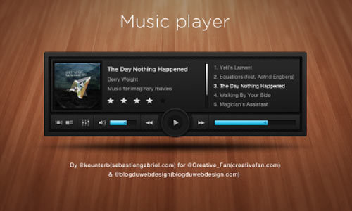 时尚的音乐播放器<br /> http://creativefan.com/free-psd-sleek-and-dark-music-player/