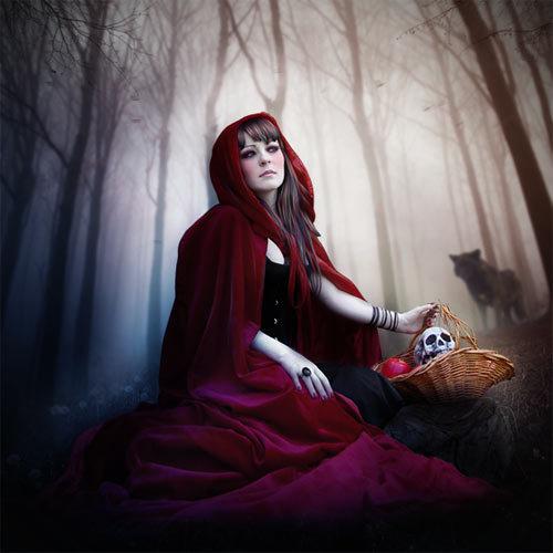在photoshop绘制小红帽童话 http://photoshoptutorials.ws/photoshop-tutorials/photo-manipulation/how-to-create-a-red-riding-hood-artwork-in-photoshop/