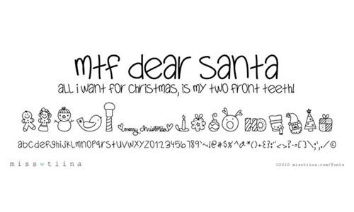 MTF Dear Santa font<br /> By Miss Tiina.<br /> http://www.fontspace.com/miss-tiina/mtf-dear-santa