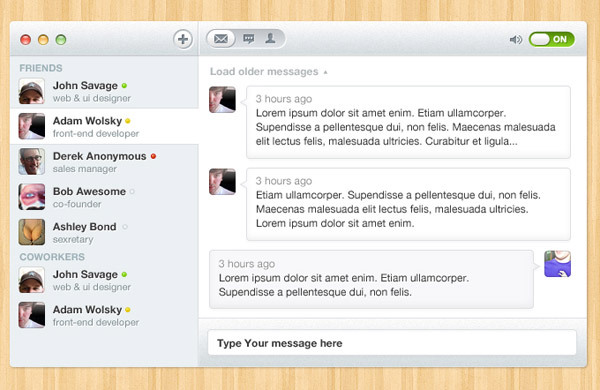 Chat UI<br /> http://365psd.com/day/2-323/