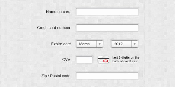 信用卡信息PSD表单<br /> http://cl.ly/2b343p2b1n3V2r17330i/download/Credit-card-infos.psd
