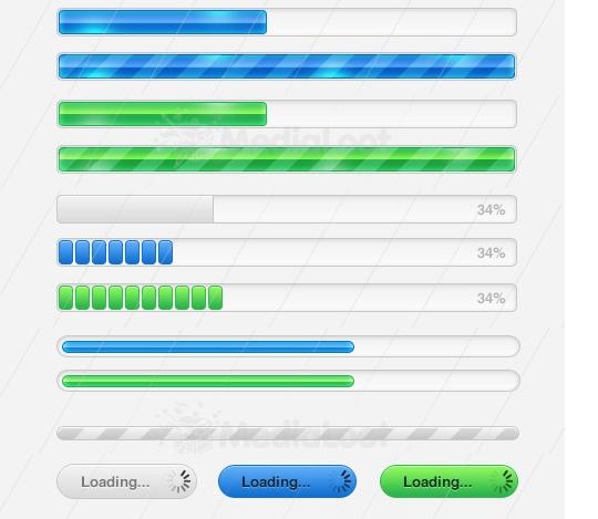 程序进度条及载入条PSD文件下载<br /> http://medialoot.com/item/progress-loading-bar-collection/