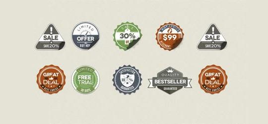 老式贴徽章<br /> http://psdlist.com/web-20/834/vintage-stickers-badges-for-free-psd-file.html