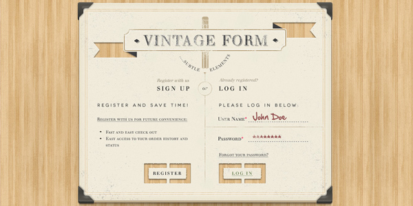 Vintage Sign Up Login Form PSD<br /> http://www.pixeden.com/psd-web-elements/vintage-sign-up-login-form-psd#