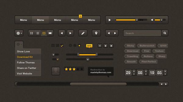 Butterscotch UI Kit<br /> http://www.designkindle.com/2011/10/31/butterscotch-ui-kit/