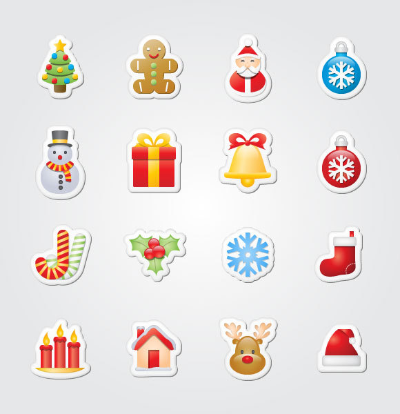 16免费圣诞贴纸图标<br /> http://www.doublejdesign.co.uk/2009/12/16-free-xmas-sticker-icons/