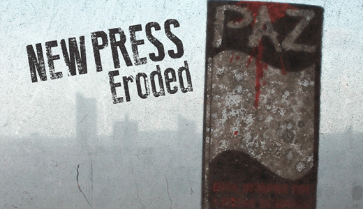 New Press Eroded<br /> http://www.dafont.com/new-press-eroded.font